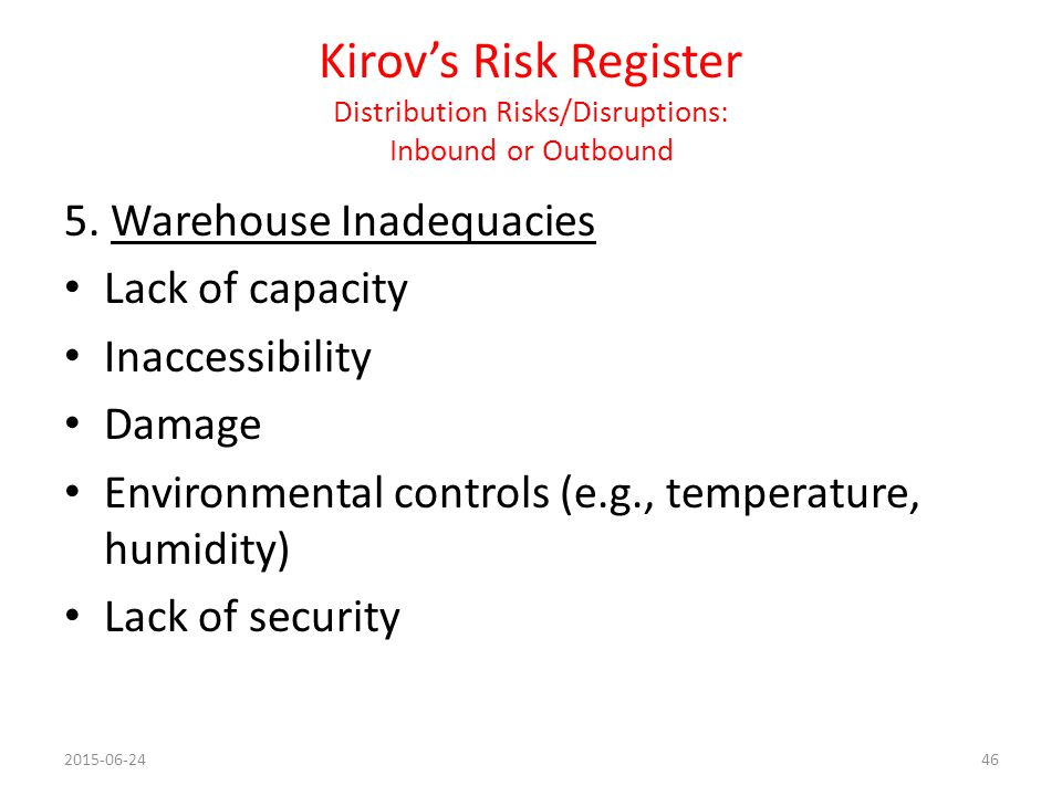 Kirov's Risk Register Distribution Risks/Disruptions: Inbound or Outbound
