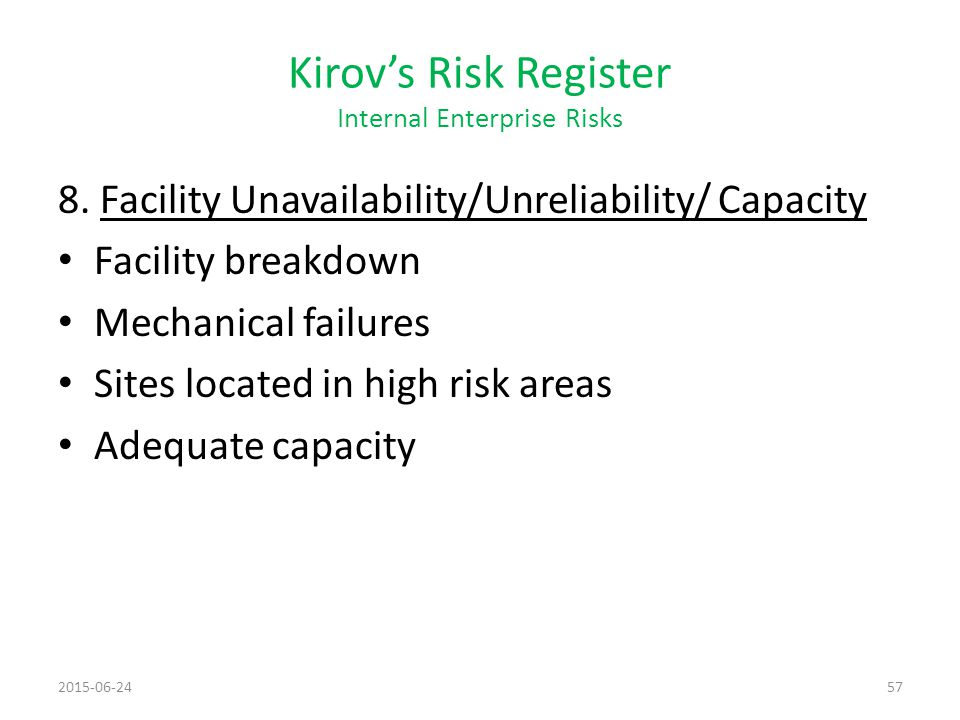 Kirov's Risk Register Internal Enterprise Risks
