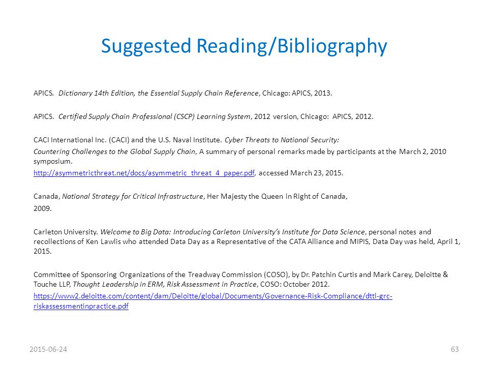 Suggested Reading/Bibliography