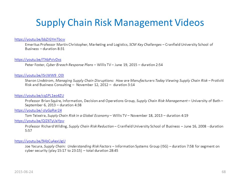 Supply Chain Risk Management Videos