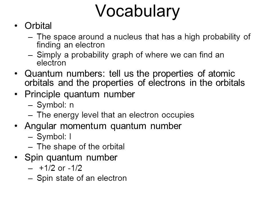 Vocabulary Orbital. The space around a nucleus that has a high probability of finding an electron.