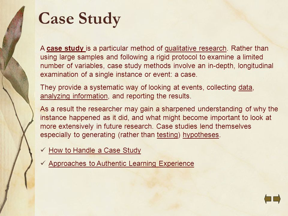 Qualitative case study example