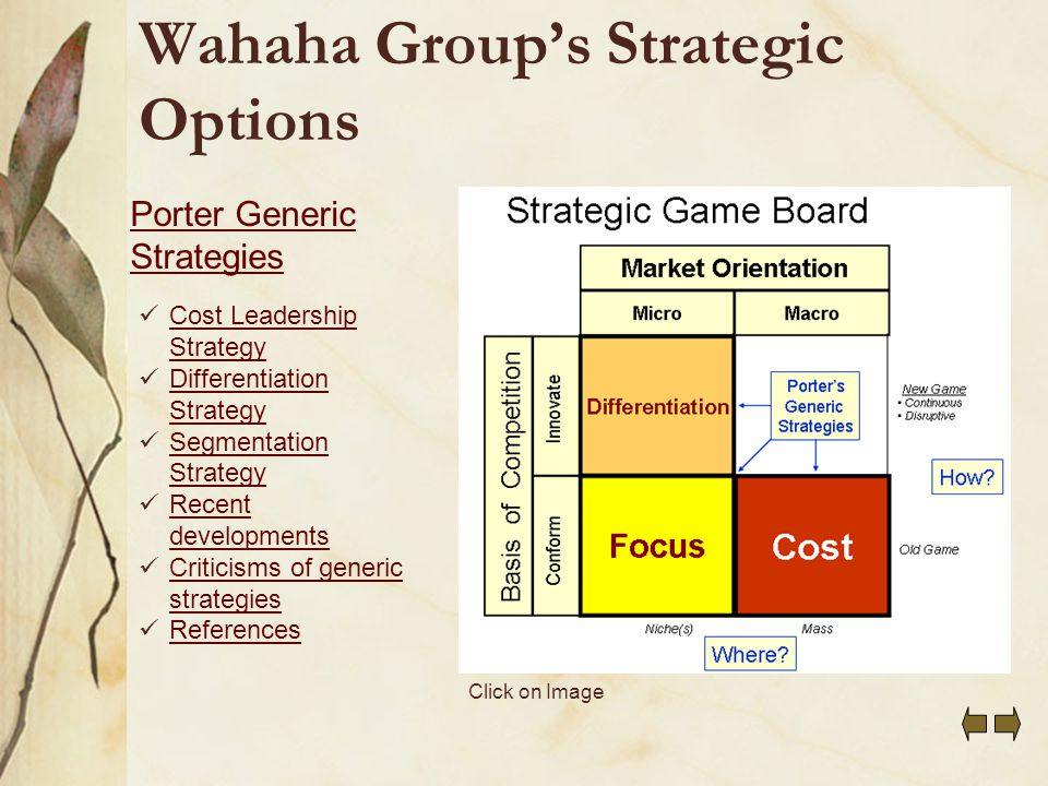 the generic strategies used by organizations Definition of 'generic strategies' definition: michael porter developed three generic strategies, that a company could use to gain competitive advantage, back in 1980 these three are: cost leadership, differentiation and focus.