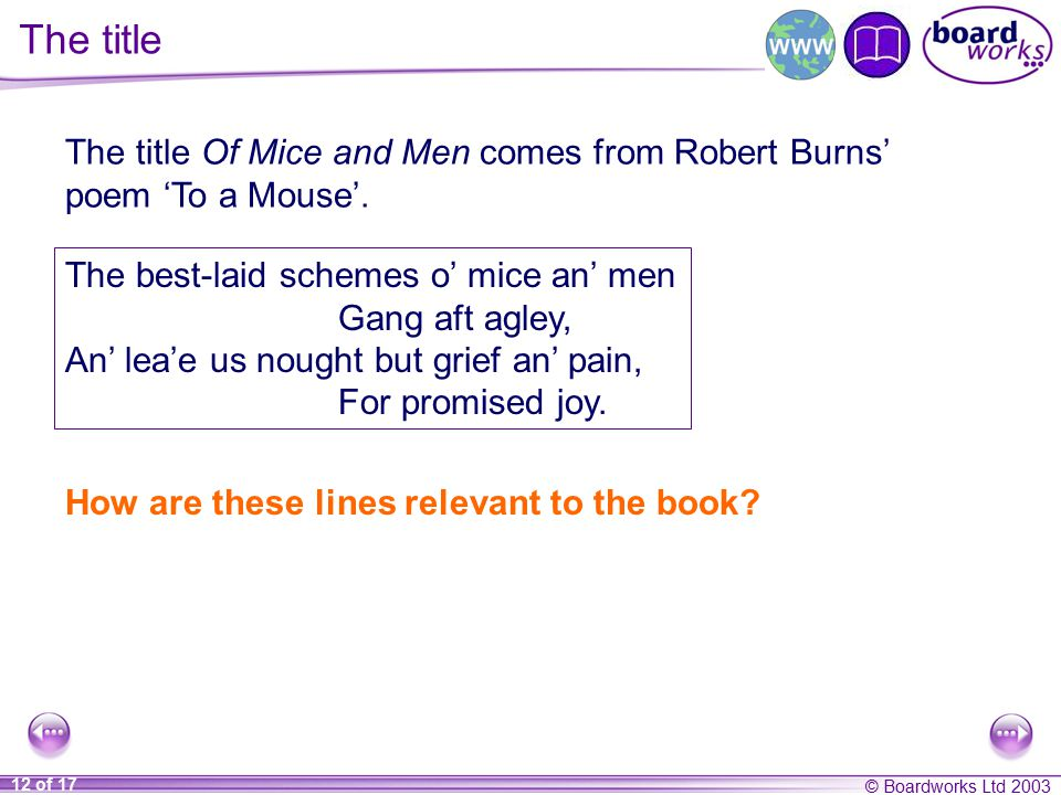 mice and men significance title The title of john steinbeck's novel of mice and men is taken from the poem of  robert burns, to a mouse, on turning her up in her nest with a plow, written  in.