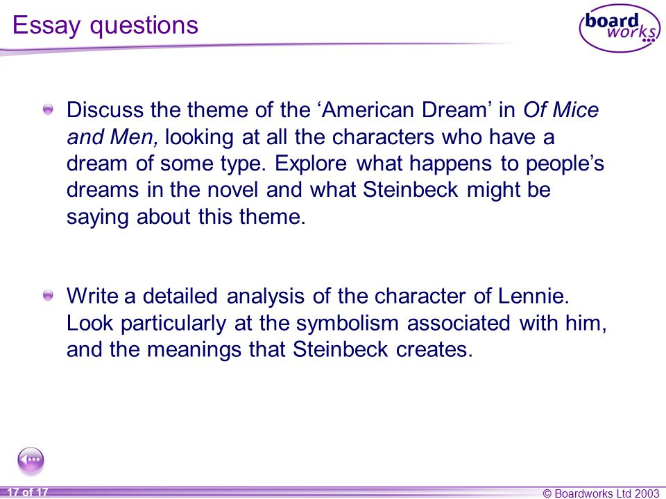 of mice and men section six ppt video online  essay questions