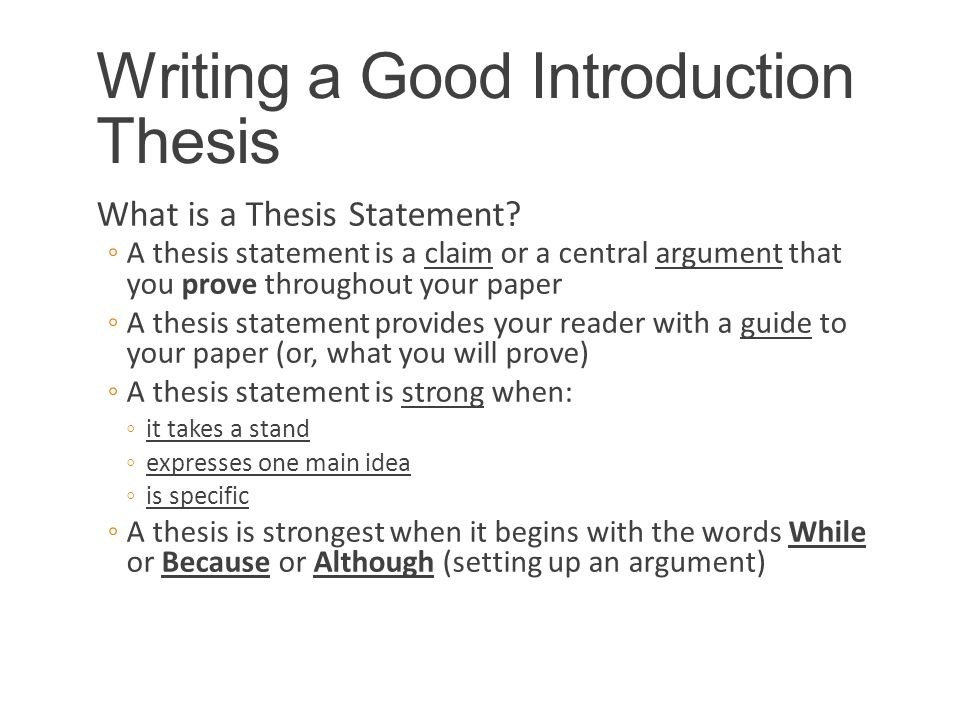 Good introduction thesis statement