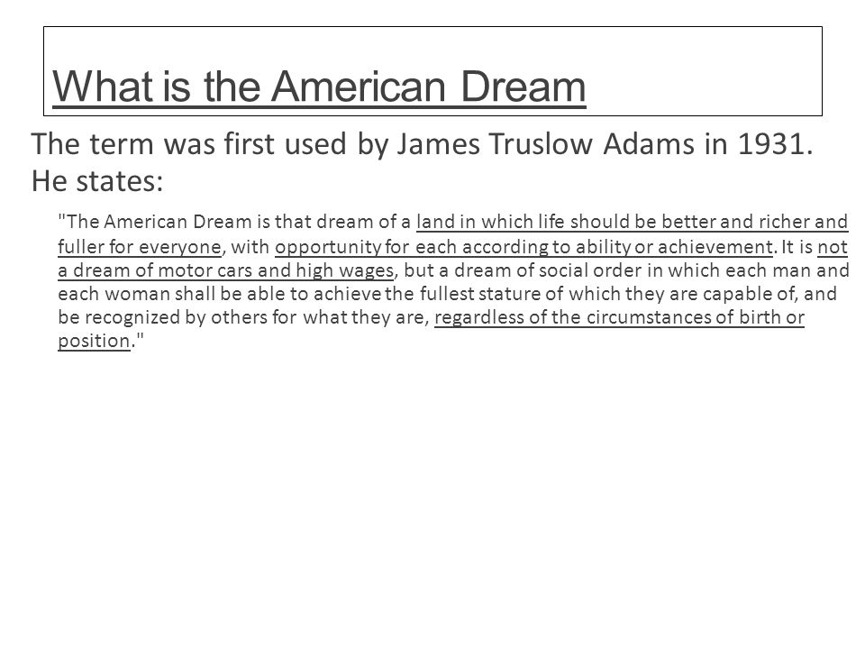 What Is The American Dream Essay