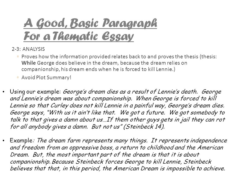 Dreams And Of Mice And Men  Ppt Video Online Download A Good Basic Paragraph For A Thematic Essay