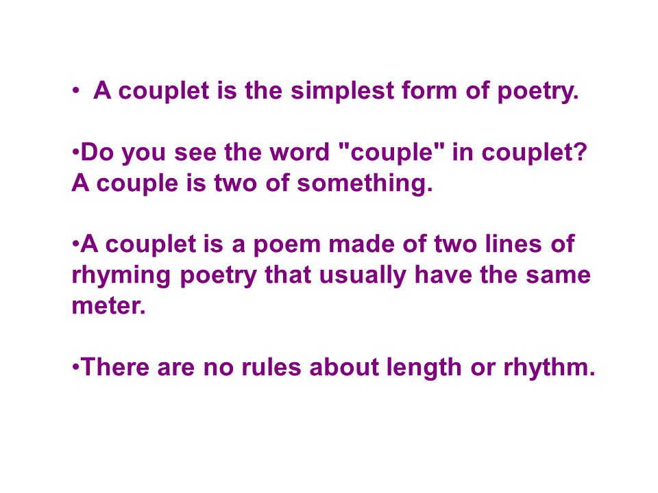 how to write a rhyming couplet poem