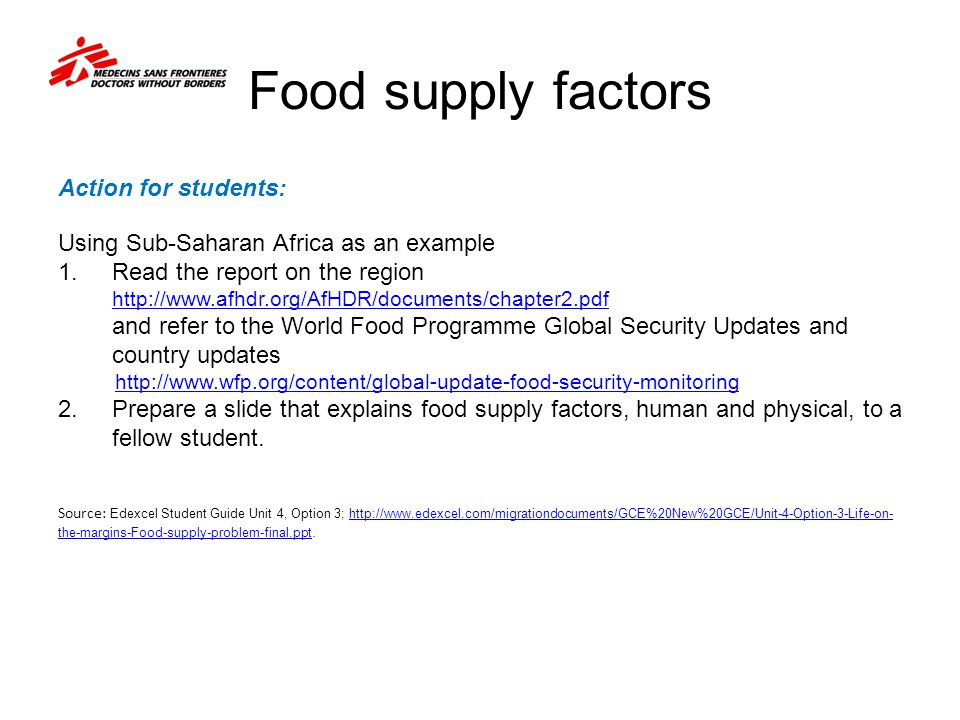 Food supply factors Action for students: