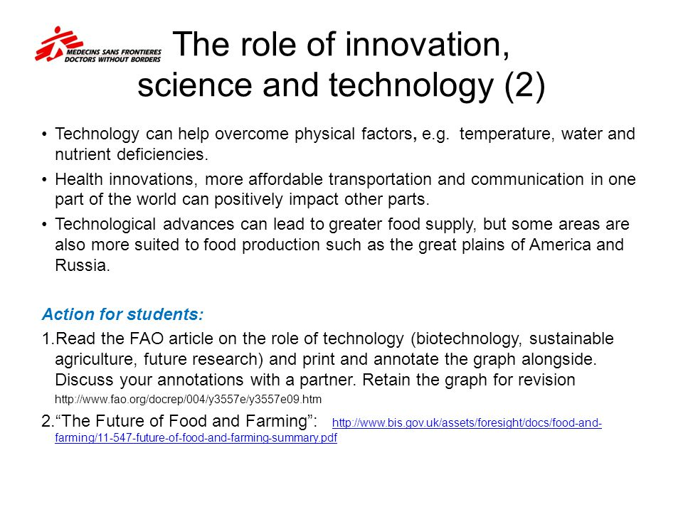 The role of innovation, science and technology (2)