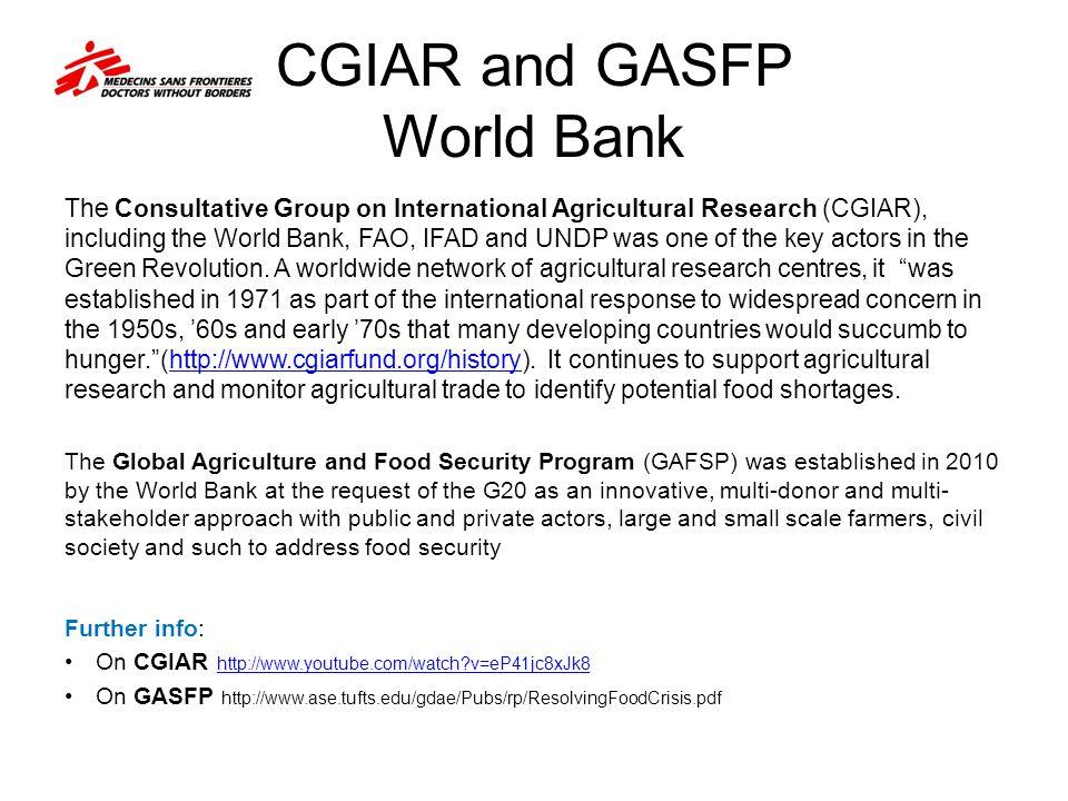 CGIAR and GASFP World Bank