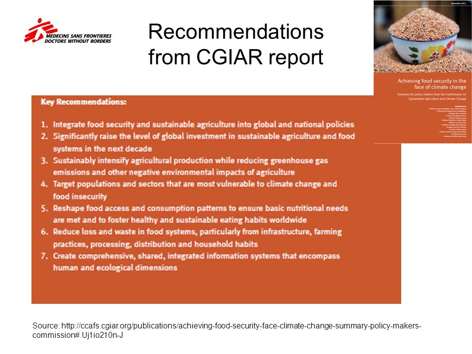 Recommendations from CGIAR report