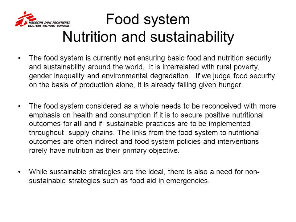 Food system Nutrition and sustainability