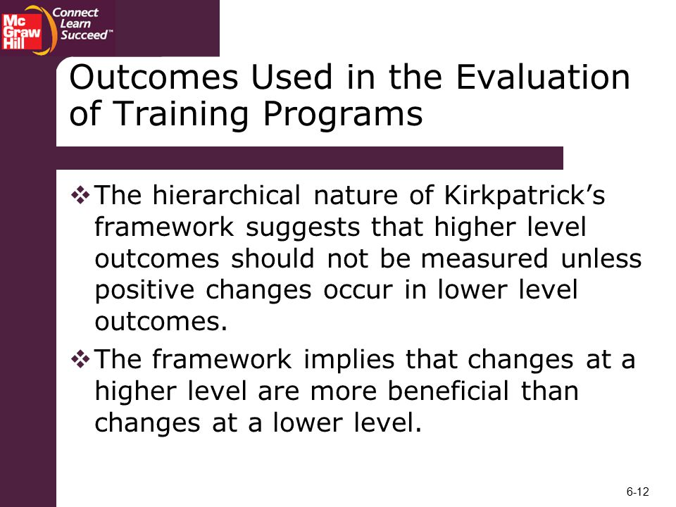 Outcomes Used in the Evaluation of Training Programs