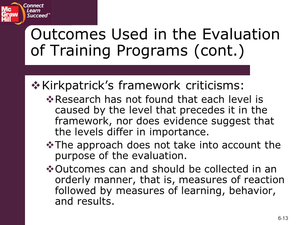 Outcomes Used in the Evaluation of Training Programs (cont.)