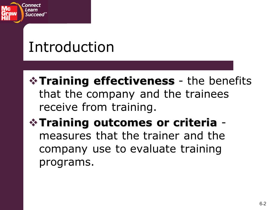 Introduction Training effectiveness - the benefits that the company and the trainees receive from training.