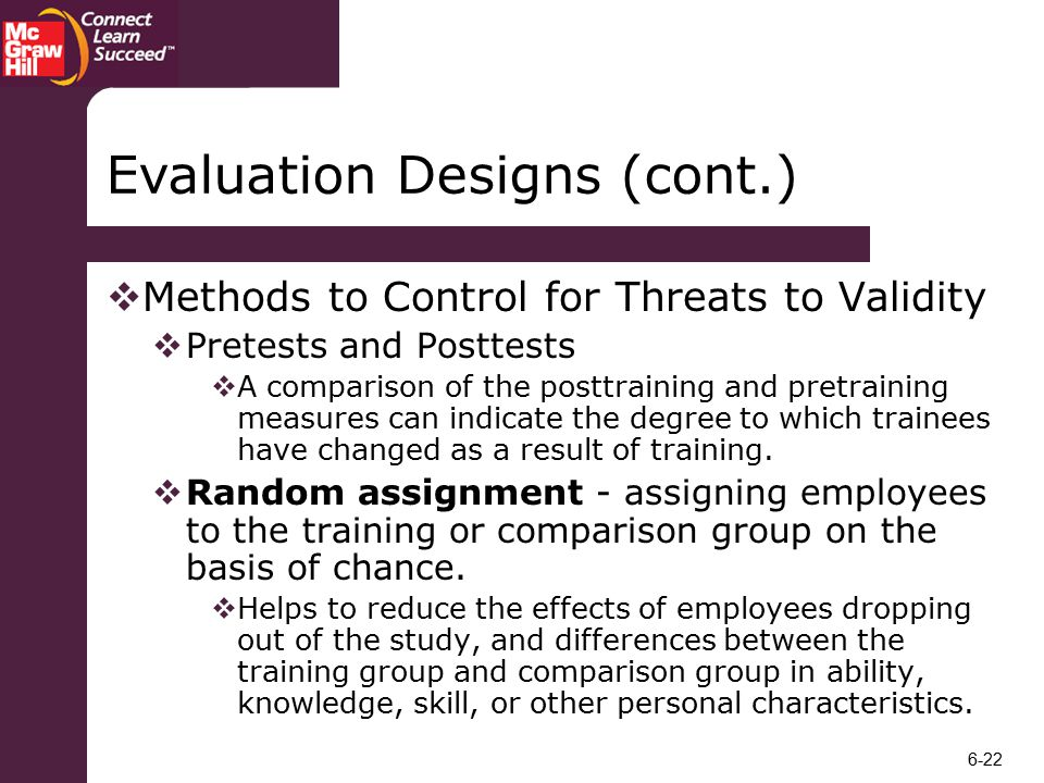 what do threats to validity have to do with training evaluation A threat to validity rather when they examine other forms of validity the notion of cultural validity in assessment although cultural validity is discussed.