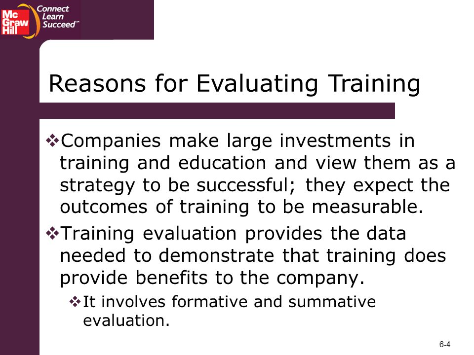 Reasons for Evaluating Training