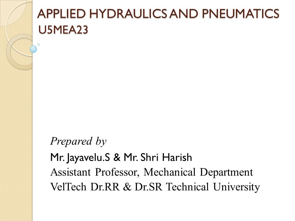 APPLIED HYDRAULICS AND PNEUMATICS U5MEA23