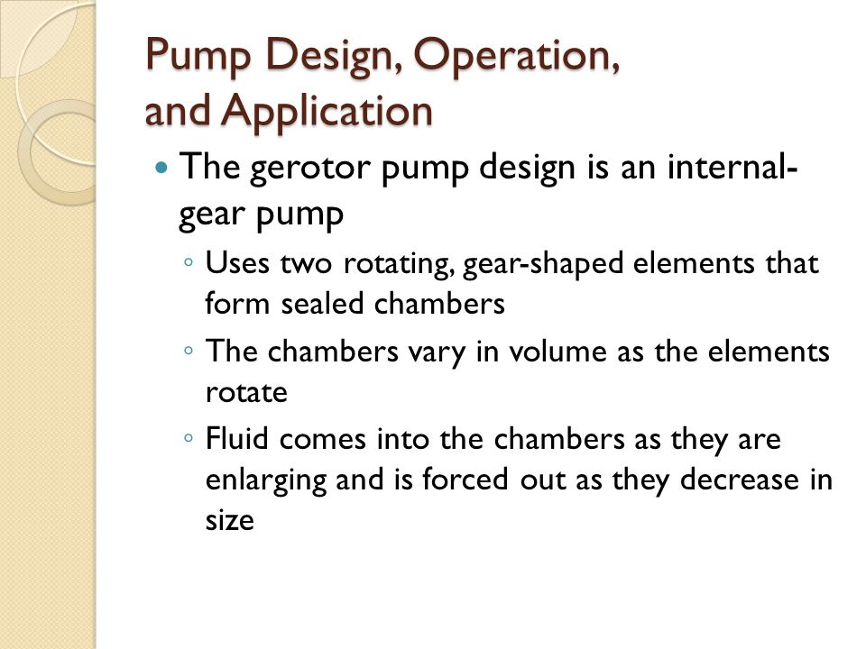 Pump Design, Operation, and Application