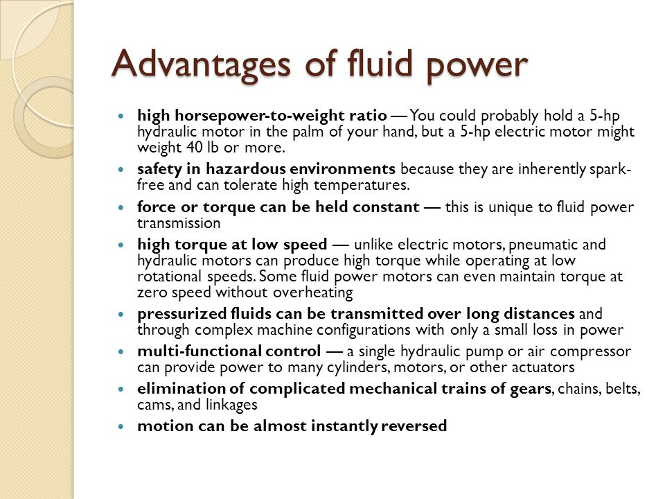 Advantages of fluid power
