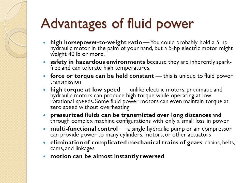 Advantages of fluid power