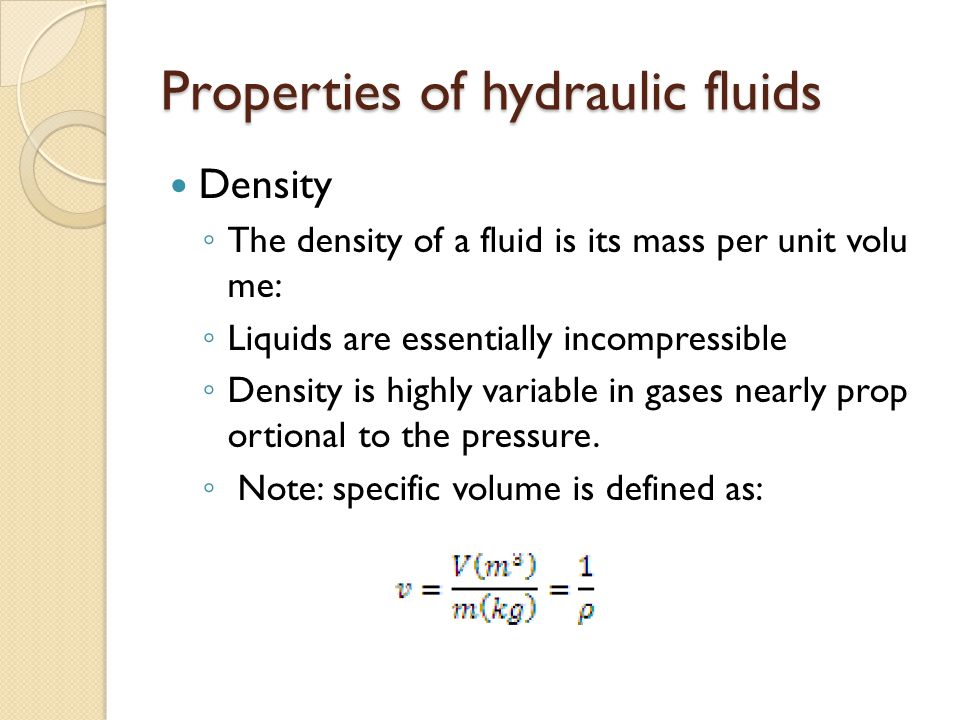 Properties of hydraulic fluids