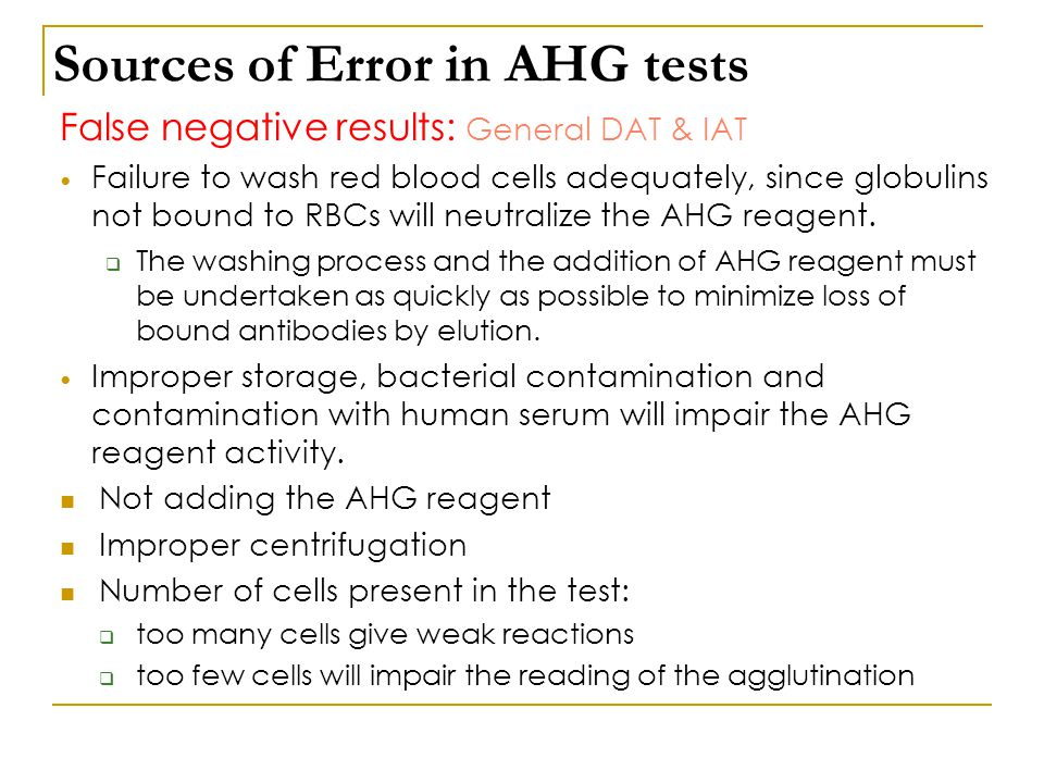 Sources of Error in AHG tests