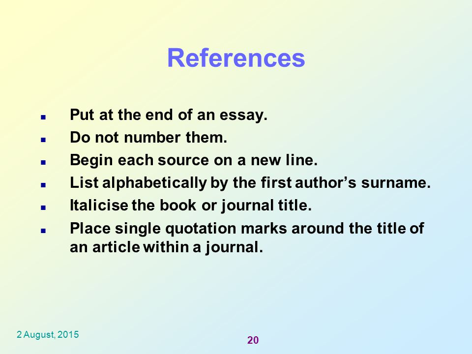 bibliography at the end of an essay When you create the bibliography, refworks inserts the reference into the   format, you can also create a bibliography at the end of the paper, in addition to  the.