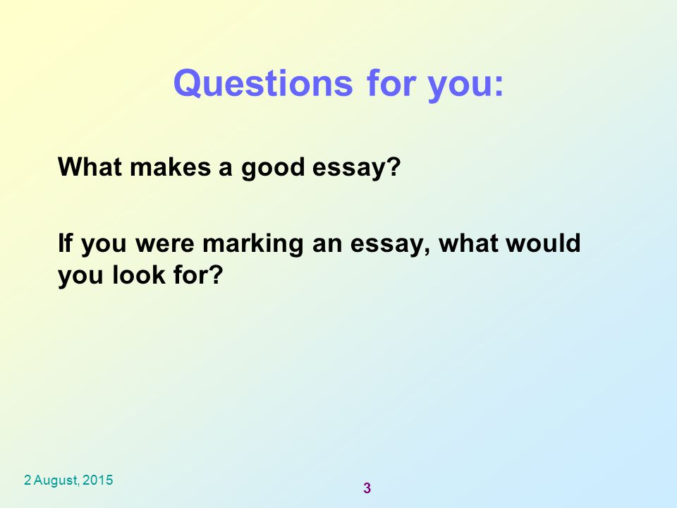 what makes a good essay question Starting a piece of writing with an attention grabber is a good approach to securing reader interest creating a hook for an essay can involve a question, a surprise, or maybe a quotation creates a desire to read on to see what happens next.