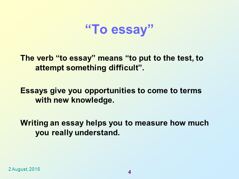 essay means to try