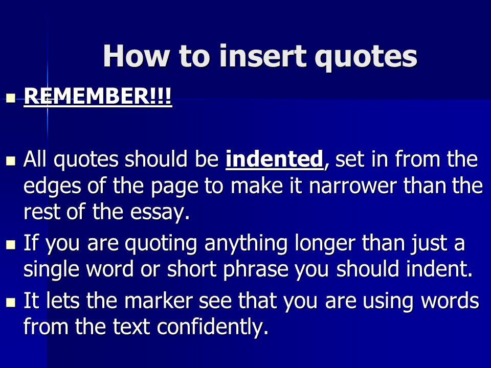 large quotes in essays
