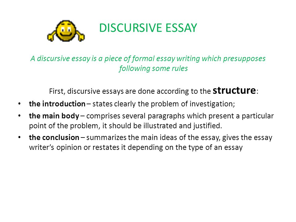 Discursive essay writing