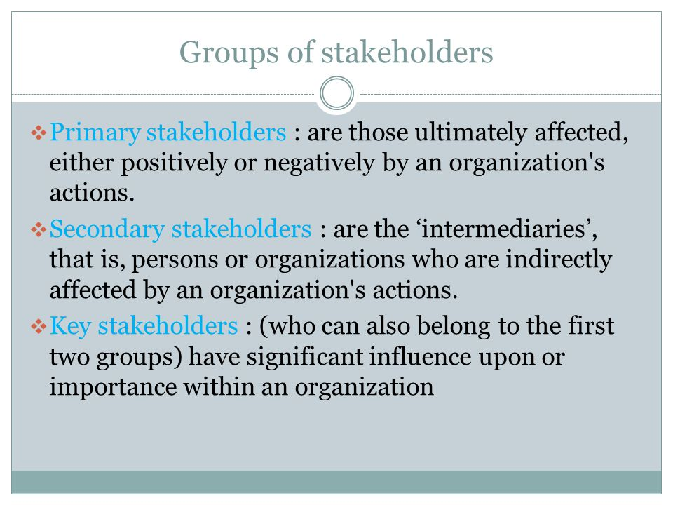 stakeholders categories responsibilities of organizations The effective health care program stakeholder guide chapter 3: getting involved in the research process this chapter describes the different types of stakeholders that ahrq works with and why they are important patients, caregivers, and patient advocacy organizations.