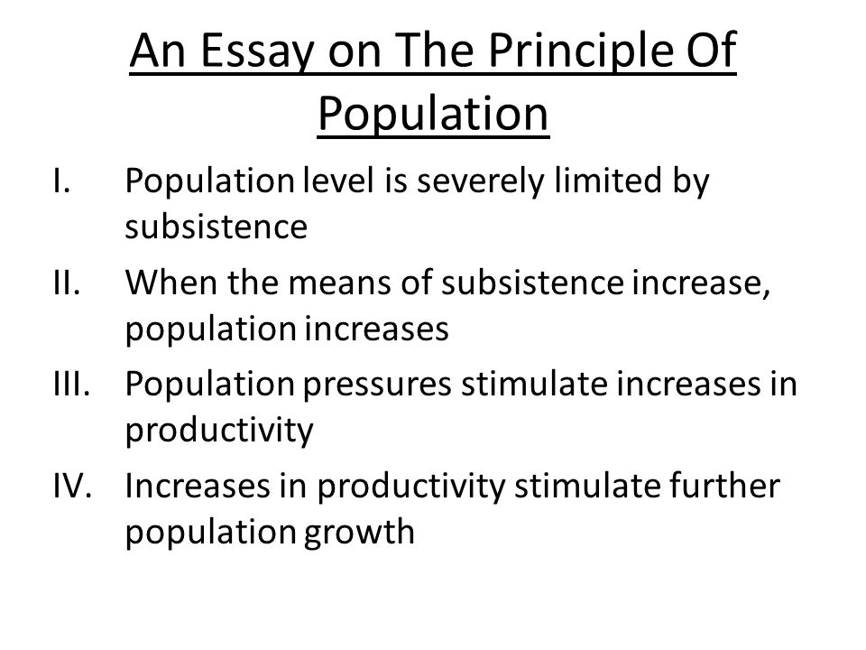 an essay of the principle of population
