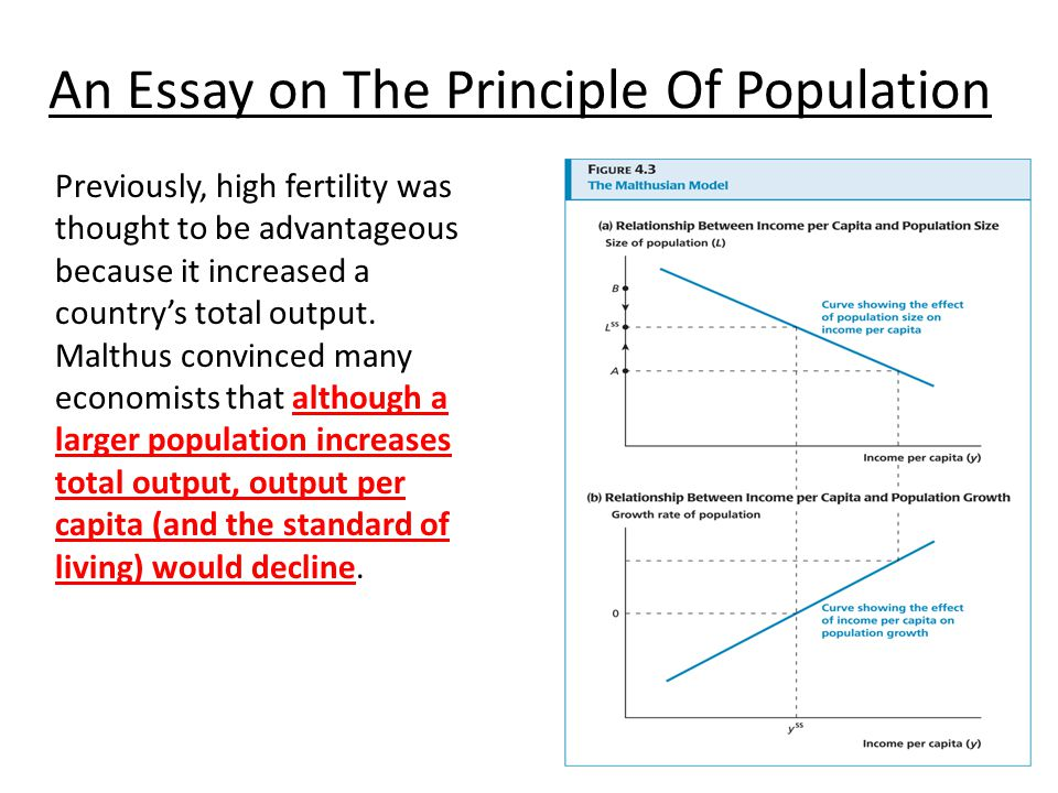 essay on the principle of population definition The book an essay on the principle of population was first published anonymously in 1798, but the author was soon identified as thomas robert malthus.