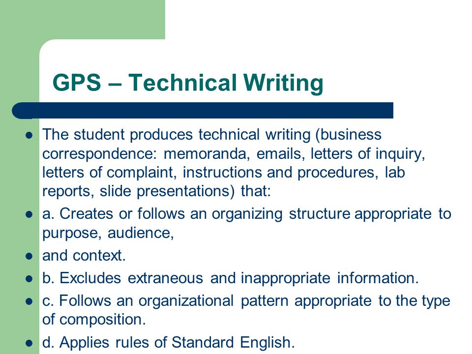 rules in technical writing The guide to grammar and writing contains scores of digital handouts on grammar and english usage, over 170 computer-graded quizzes, recommendations on writing -- from basic problems in subject-verb agreement and the use of articles to exercises in parallel structures and help with argumentative essays, and a way to submit questions about.