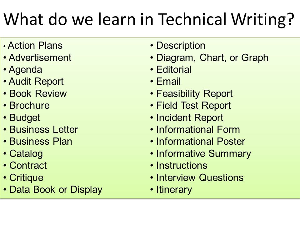 what is technical writing used for The biggest hurdle you may face in writing a description is remembering what the term means as it is used in this context we all use the word description loosely to refer to practically any discussion or explanation but in this context, it means the detailed discussion of the physical aspects of a thingthat means discussing things like color.