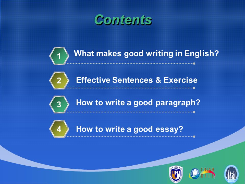 writing ppt video online  contents what makes good writing in english 1 2
