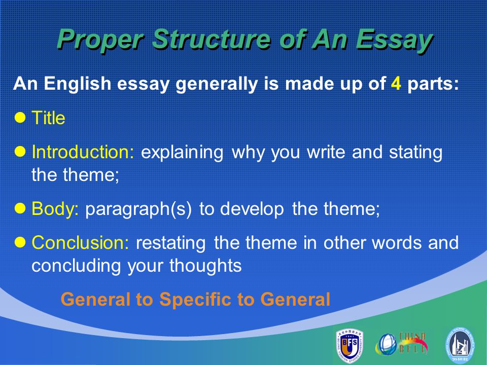 proper essay structure How to write a proposal essay/paper updated on may 9, 2016 laura writes more because this collage requires the creator to examine the context, audience, setting, structure of any one of the readings, it is essentially like a quiz itself.