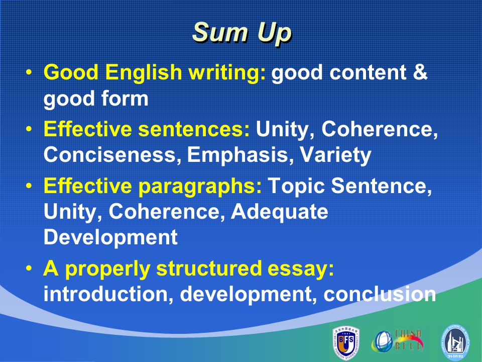 essay unity and coherence Paragraph writing exercises in process writing, we have emphasized the fact that it is very hard for the teacher to concentrate on both the grammar and the.