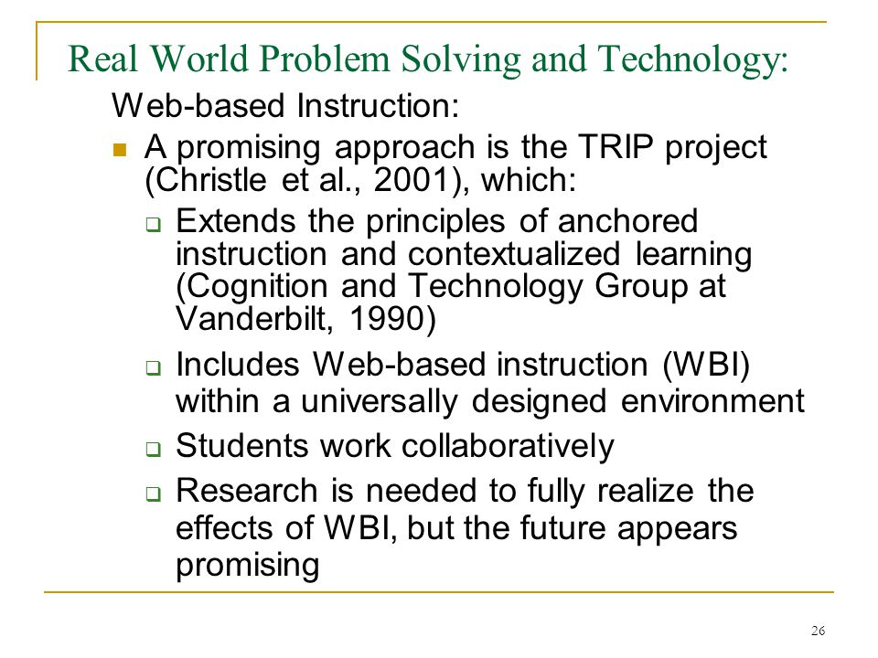 impact of web based instruction wbi in schools Impact on the learning of exceptional  resulting document is based on research  for teachers and schools in implementing a balanced curriculum howard n.