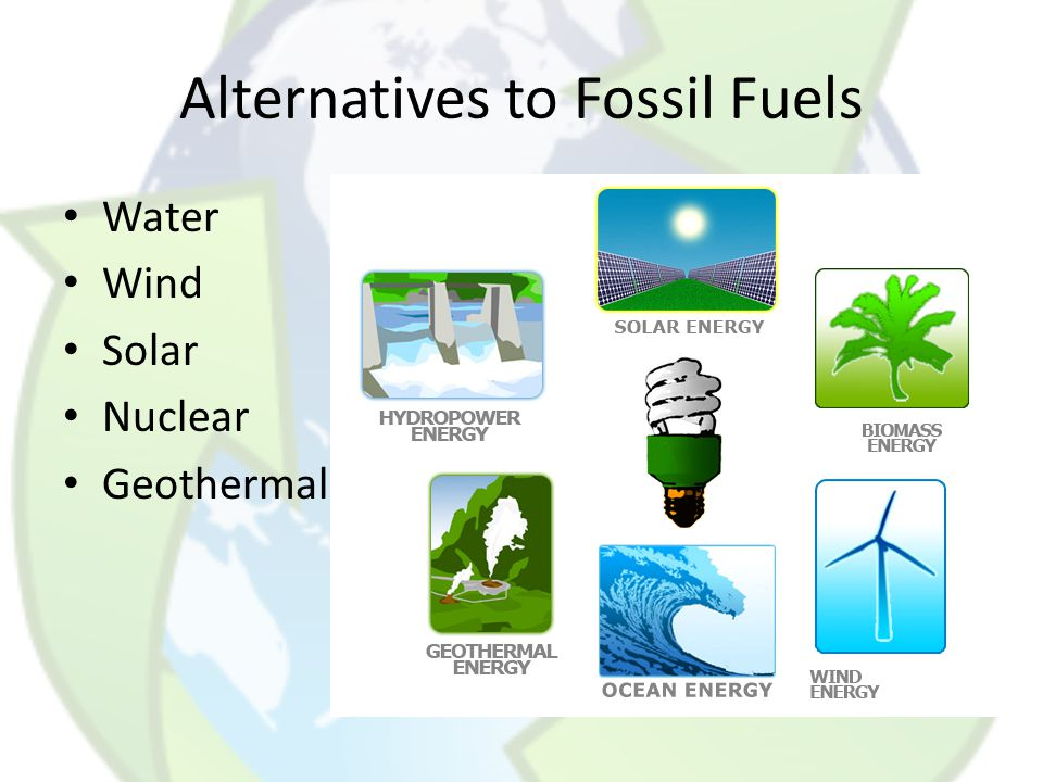 alternatives to fossil fuels essay Fossil fuels are a thing of the past because in today's time with an: infinitely growing population, an endless demand for energy, and a rapidly decreasing supply of fossil fuels, there must be an alternative to sustain our needs.