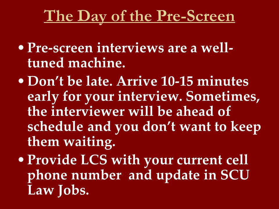 pre screen interview