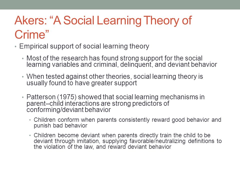 deviant behavior the social learning Download citation | social learning and | in the last decade we have seen a dramatic shift away from sociological explanations of deviant behavior toward.