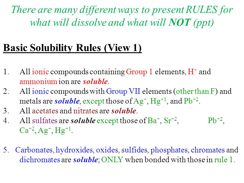 Solubility Rules  Ppt Download