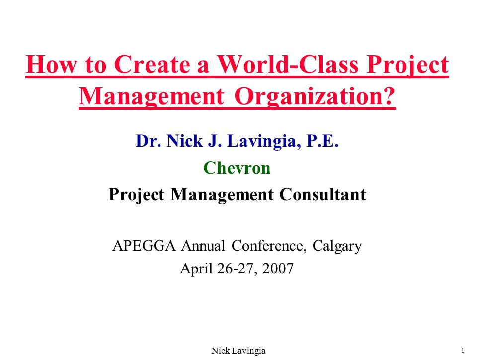 How to Create a World-Class Project Management Organization? - ppt ...