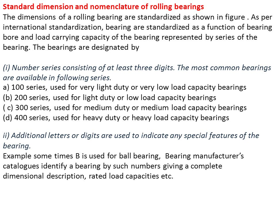 Standard dimension and nomenclature of rolling bearings
