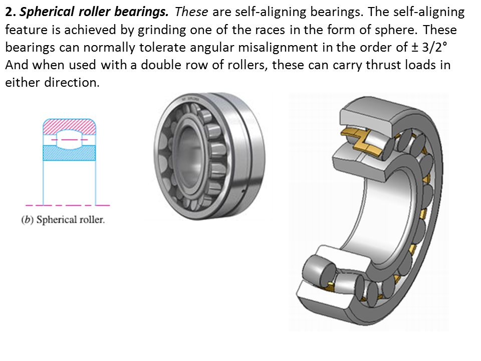 2. Spherical roller bearings. These are self-aligning bearings